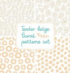 Beige patterns set vector