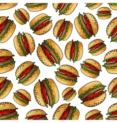 Seamless american bbq burgers background pattern vector image