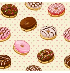 Seamless pattern with colorful tasty donuts vector image