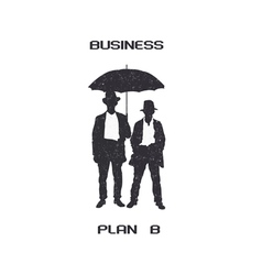 Silhouettes of retro businessmen with umbrella vector image