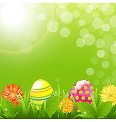 Green Border With Grass And Color Eggs vector image vector image