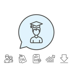 man in graduation cap line icon education vector image
