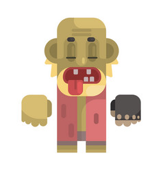 Old toothless tramp with blond beard revolting vector