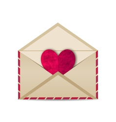 open vintage envelope with paper grunge heart - vector image