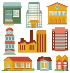 set with buildings icons vector image vector image