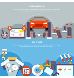Wheel alignment and car spares horizontal banner vector