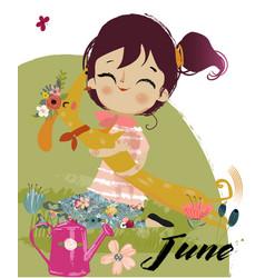 cute cartoon autumn girl vector image vector image