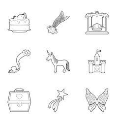 little princess kit icons set outline style vector image vector image