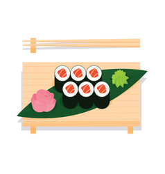 maki sushi with salmon served on wooden board vector image