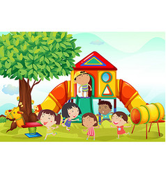 Many children playing on the playground vector image vector image
