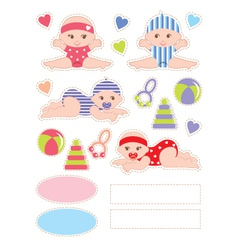 Scrapbook elements with baby vector image