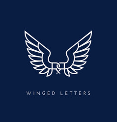 winged letters vector image vector image