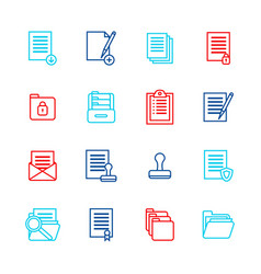 folders thin line icon color set vector image