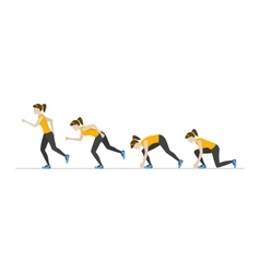 Running Woman Step Positions Set vector image