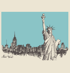 sketch of the statue of liberty and the panorama vector image