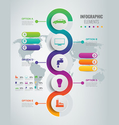 abstract 3d infographic template with 5 options vector image