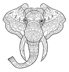 adult coloring bookpage a head of elephant image vector image