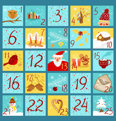 Advent calendar in doodle style yellow and blue vector