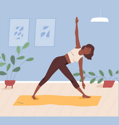 african american woman practising yoga at home vector image