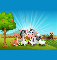 Animals farm relax in the morning vector