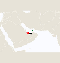 Asia with highlighted united arab emirates map vector