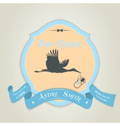 Baby shower invitation with flat stork flying vector