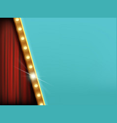 background with light bulbs and red curtain vector image