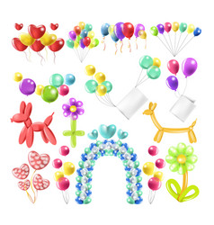 Balloons color glossy inflated in different vector