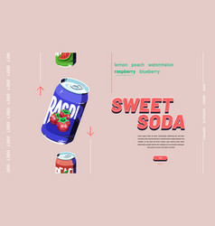 banner sweet soda fruit drink vector image