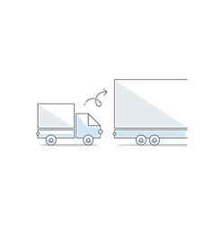 Bigger and smaller truck difference concept vector image