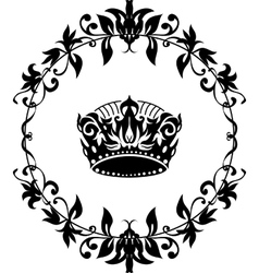 Black crown icon isolated on white vector