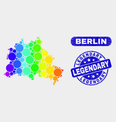 Bright mosaic berlin city map and scratched vector