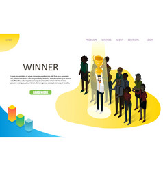 Business winner landing page website vector