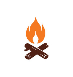 Campfire logo for mountain camping adventure vector