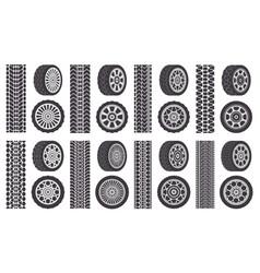 car wheel tires track traces automobile wheel vector image