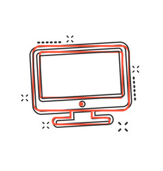 cartoon computer icon in comic style monitor sign vector image