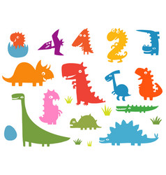 Cartoon funny silhouettes of dinosaurs vector