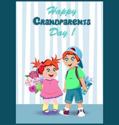 cartoon of grandchildren with flowers and gift vector image