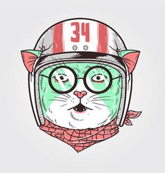Cat racer helmet 2 vector