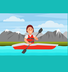 cheerful woman swimming by river on red kayak vector image