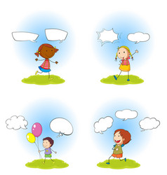 Children and speech bubbles set vector
