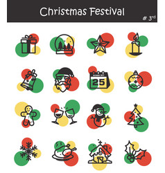 christmas festival icon set 3 vector image