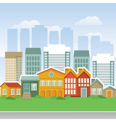 city with cartoon houses and buidings vector image