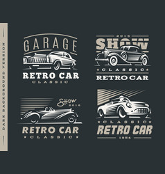 Classic car set on dark background vector