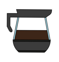 Color blurred glass jar of coffee with handle and vector