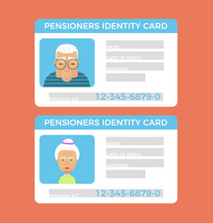 Concept of pensioner id cardsgrandparents vector