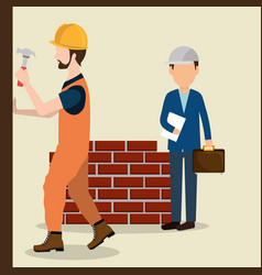 construction workers with under construction icons vector image