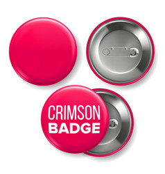 crimson badge mockup pin brooch crimson vector image