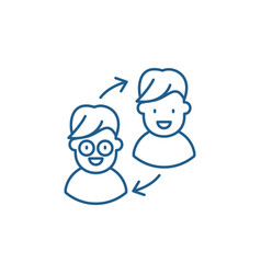 customer transformation line icon concept vector image