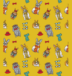 cute fashion hipster rabbits pets seamless pattern vector image
